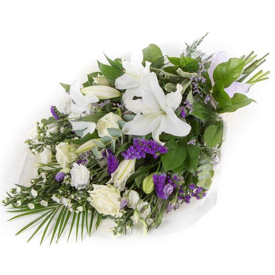 White Purple Sheaf Funeral Flowers Chulmleigh